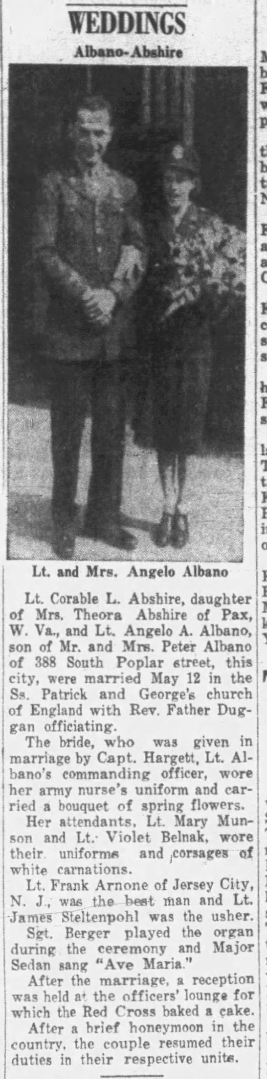 Wedding Angelo A. Albano with Corable Lobertha Abshire Albano (Source: The Plain Speaker Hazleton, Pennsylvania 06 Jul 1944, Thursdy, Page 18)